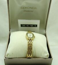 "Vintage Lovely Gold Plated Ladies Sekonda ""Diamond"" Quartz Bracelet Watch"