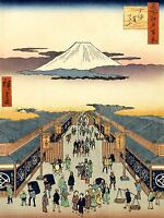 PAINTING JAPANESE WOODBLOCK MARKET PLACE ART POSTER PRINT LV2613