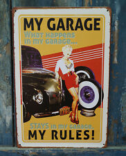 NEW MY GARAGE MY RULES Poster Vintage Metal Tin Signs Home Pub Bar Wall Decor