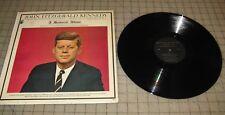 1963 JOHN FITZGERALD KENNEDY A Memorial Album JFK 33rpm - Used in GD Shape