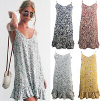 Womens Strappy Beach Tank Sundress Swing Floral Loose Ladies Mini Summer Dress