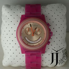 NEW MARC BY MARC JACOBS RAVER SMILE FACE PINK ACRYLIC WATCH MBM4575 41MM