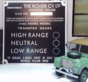 "Land Rover Series 1 80"" Bulkhead Gear Transfer Box Information Plate Plaque"