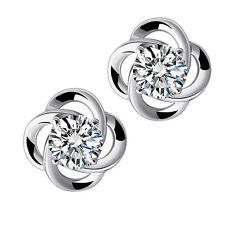 Silver Flower Crystal Ear Stud Earring Diamante