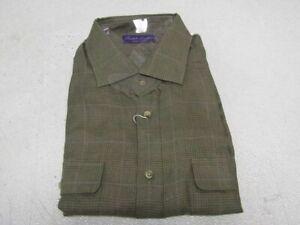 Ralph Lauren Purple Label Men's US XL Checked Linen Twill Shirt Sage