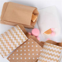 50pcs Wave Dot Kraft Paper Candy Biscuit Bags Packing Pouch Popcorn Bag Wraps