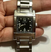 GUCCI - Ladies Stainless Steel 7700L Watch w/ Square Dial / Black Face - PETITE