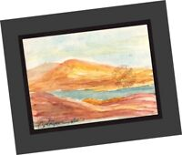 """ACEO """"Dry Season Lake Casitas"""" 2007 Contemporary Art Landscape PAINTING SIGNED"""