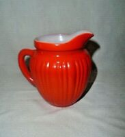 Hazel Atlas Platonite Ribbed Painted Glass Pitcher Creamer Syrup Sauce Orange