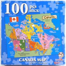 """SEALED LEAP YEAR JIGSAW PUZZLE Canada Map 100 Pieces 8 1/2"""" x 11"""" 2005 #60147"""