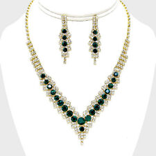 LUSH Gold Green Emerald Crystal V Collar Cocktail Necklace Set By Rocks Boutique