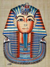 """Egyptian Hand-painted Papyrus Art: Mask of King Tutankhamon 12.5"""" x 16.5"""" SIGNED"""