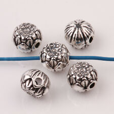 20Pcs Round Shape Tibetan Silver Loose Spacer Charm Beads Jewelry Findings 8*6mm