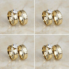Wholesale Lots 4 Pair Stainless Steel 18K Gold Band Engagement Wedding Rings Set