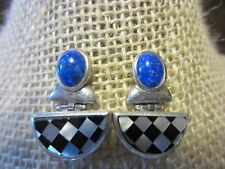 Inlay Blue Lapis MOP Modernist Artisan Earrings Sterling Silver Statement 1980s