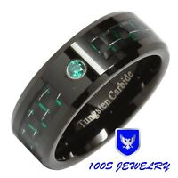 8MM Tungsten Ring Green Diamond Carbon Fiber Inlay Mens Wedding Band Size 8-14