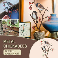 Metal Hand Painted Chickadees and Berries Garden Art Black-Capped Chickadee Deco