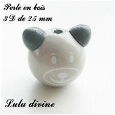 Perle en bois de 25 mm, Perle 3D Tête d'ourson : Gris clair
