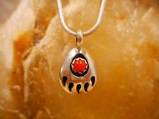 Necklace Native American Sterling Silver Coral Mini Bear Paw By Navajo V Long