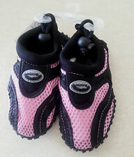 NWT - Infant Wave Water Shoes Black, Pink Nylon mesh (Infant Size 7)
