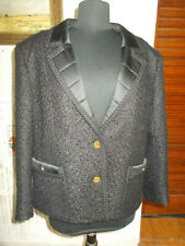 VINTAGE Veste classe blazer laine noir PAULA KLEIN 42/44FR Made in france