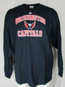 Washington Capitals Men's 100% Cotton Navy 3XL Long Sleeve T Shirt Majestic NFL