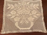 VINTAGE COTTON CROCHET LARGE Taupe DOILEY / Table Centre Cloth 14x12 Inches