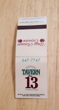 Vintage Matchbook Tavern On 13 Restaurant Birmingham Michigan Unique Corporation