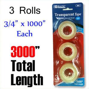 "3000"" Glossy Finish Transparent Tape 3/4 x 1000"" Each Roll Dispenser Refill Tape"