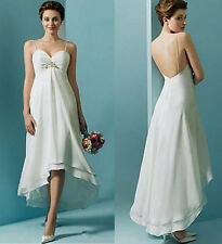 High Waist Simple Chiffon Short Hi Low Beach Boho Wedding Dress Maternity Dress