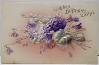 With Best Birthday Wishes Embossed Airbrushed Flowers Postcard D6
