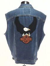 Denim Trucker Vest USA Made HARLEY DAVIDSON Eagle Logo Biker Motorcycle Men's XL