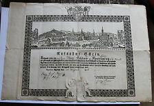Aufnahmeschein für Graf Niklas v. Auersperg,Agram 26. August 1834,K.K.Monarchie