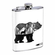 Bear Art Black Em1 Flask 8oz Stainless Steel Hip Drinking Whiskey