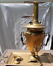 Antique 19th Century Russian Hallmarked Brass Samovar by BATASHEV w/tray,chimney