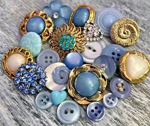 Blue Vint-Now Fabric Lucite Silver Glass Rhinestone Buttons Bridal Bouquet Lot