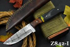 Custom Damascus Steel Hunting Knife Handmade,G-10 Micarta & Walnut Handle Z842-I