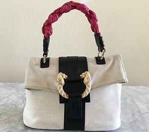 Authentic BVLGARI BULGARI Leoni Canvas Leather Shoulder Tote Bag Satchel Handbag