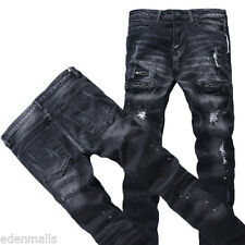 Male Ripped Biker Jeans Cotton Black Slim Fit Jeans Distressed Denim Pants