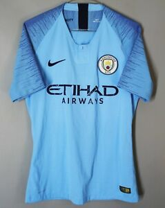 MANCHESTER CITY ENGLAND 2018 2019 HOME MATCH WORN JERSEY PLAYER ISSUE SHIRT NIKE