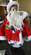 Rhodes Studios Scotty Plays Santa Porcelain Doll With Coa, Original Box, Stand