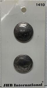 """Vtg JHB International Buffalo Nickel Metal Buttons 3/4"""""""