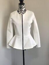 TopShop White Peplum Blazer Scuba Ponte Jacket Black Stretch Size US 8 UK 12 40