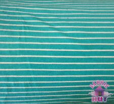 Jersey Knit Polyester Poly Spandex Turquoise & White Stripe Fabric by the Yard