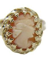 Cameo Ring 14Kt Gold with Exceptionally Fine Carved Shell Size 6 Romania Vintage