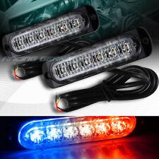 12 LED RED/BLUE CAR EMERGENCY BEACON HAZARD WARNING FLASH STROBE LIGHT UNIVERSAL