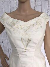 Vestido de boda tamaño de marfil Sallie Bee 100% PURO SEDA ESTILO VINTAGE SIZE UK 10 -12