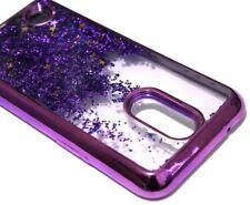 For LG V5 / K20 PLUS - Purple Trim Glitter Stars Sparkle Liquid Skin Case Cover