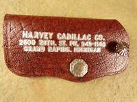 Vintage Leather Key Fob Case Harvey Cadillac Grand Rapids MI Auto Dealer Promo