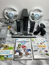 BLACK Wii Console + Official Remotes + Mario Kart/Sports+ *CHOOSE A BUNDLE*